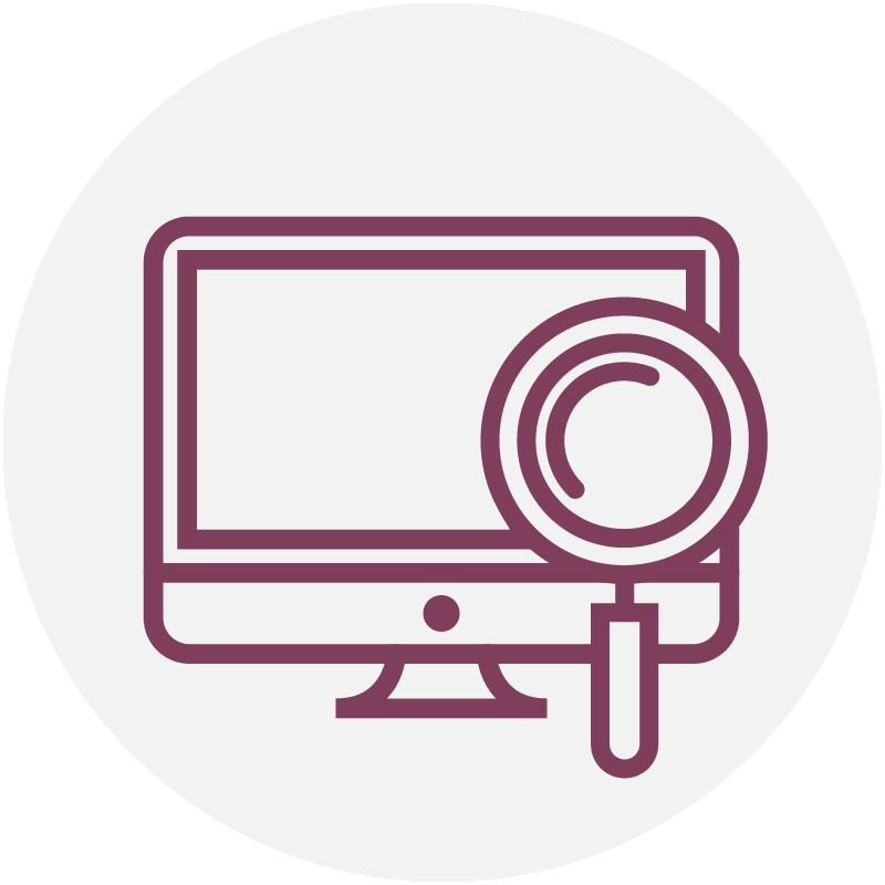 Purple computer icon for web services