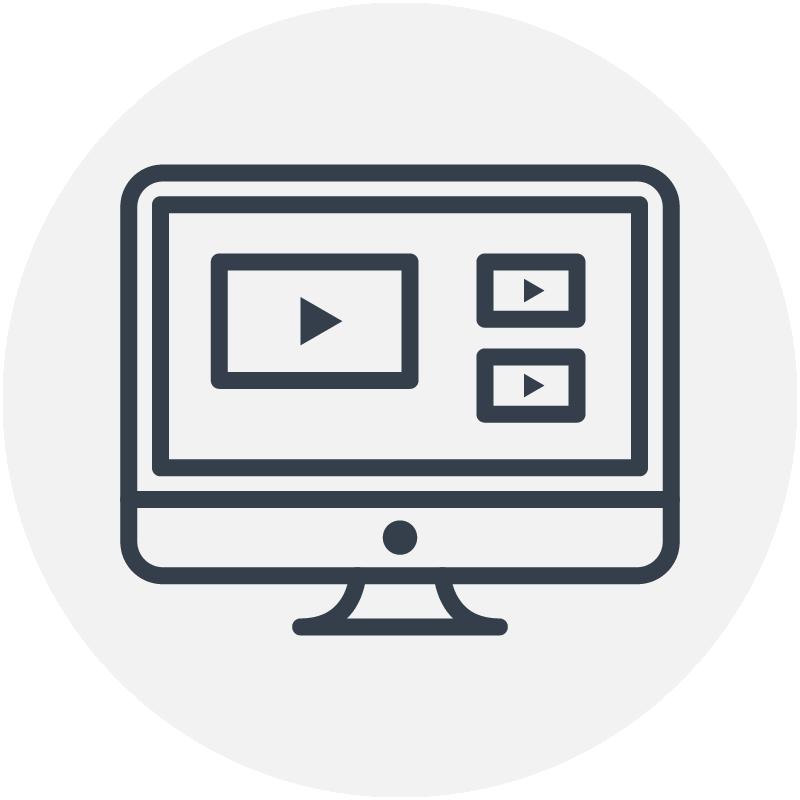 Dark blue computer icon for digital seminars